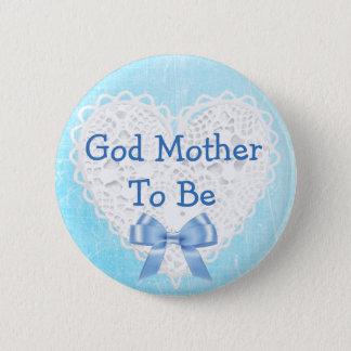 Badge Rond 5 Cm Mère de Dieu à être bouton de dentelle bleu de