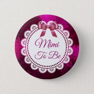 Badge Rond 5 Cm Mimi à être bouton magenta de baby shower d'arc