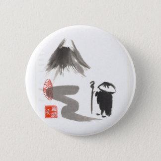 Badge Rond 5 Cm Moine de zen sur le voyage
