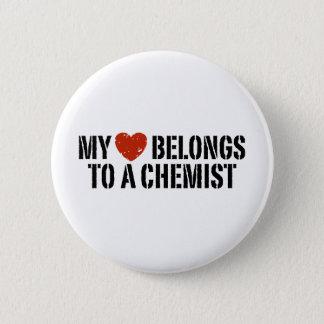 Badge Rond 5 Cm Mon coeur appartient à un chimiste