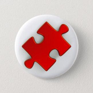 Badge Rond 5 Cm morceau du puzzle 3D (rouge métallique)