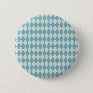 Badge Rond 5 Cm Motif à motifs de losanges en menthe et crème
