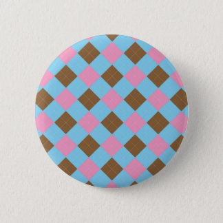 Badge Rond 5 Cm Motif bleu, brun et rose de plaid