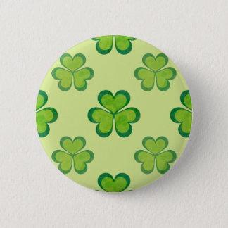 Badge Rond 5 Cm Motif chanceux vert élégant de trèfle de shamrock