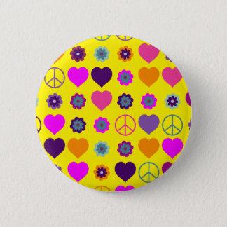 Badge Rond 5 Cm Motif de paix de coeur de flower power + votre