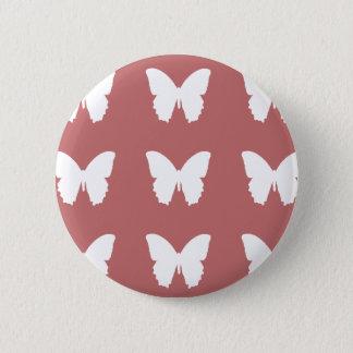 Badge Rond 5 Cm motif de papillons blanc