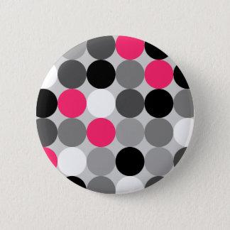 Badge Rond 5 Cm Motif noir et blanc rose mignon de vecteur de