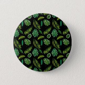 Badge Rond 5 Cm Motif tropical Tiki floral fait main de feuille