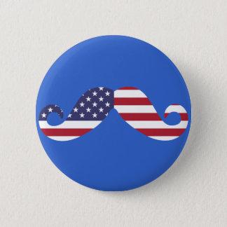 Badge Rond 5 Cm Moustache de drapeau américain