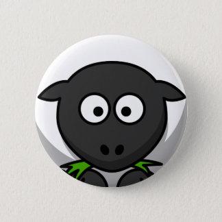 Badge Rond 5 Cm Moutons dodus noirs et blancs maladroits mangeant