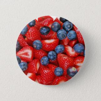 Badge Rond 5 Cm Myrtilles et fraises fraîches