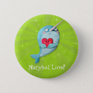 Badge Rond 5 Cm Narwhal mignon avec le coeur