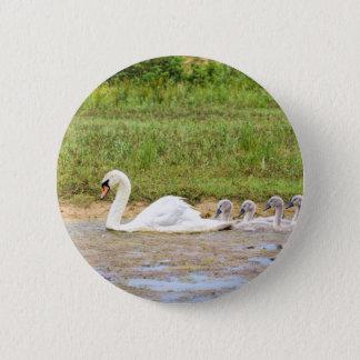 Badge Rond 5 Cm Natation blanche de cygne de mère en conformité