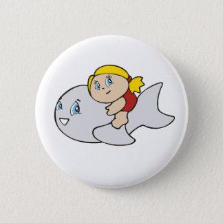 Badge Rond 5 Cm Natation de fille avec le dauphin