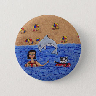 Badge Rond 5 Cm Natation de Madame Cat Beach Ocean Dolphin d'art