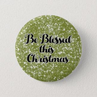 Badge Rond 5 Cm Noël blanc vert de neige soit bouton béni