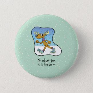 Badge Rond 5 Cm Noël courant de renne d'exercice
