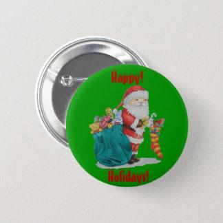 Badge Rond 5 Cm Noël mignon de père avec des jouets et des cadeaux