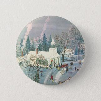 Badge Rond 5 Cm Noël vintage, les gens allant à l'église dans la