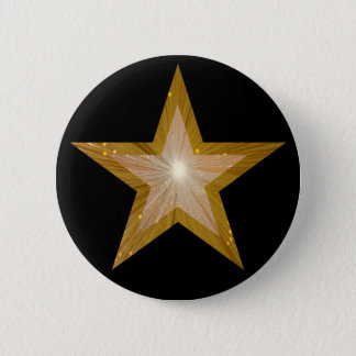 """Badge Rond 5 Cm Noir de bouton d'étoile de """"or"""""""
