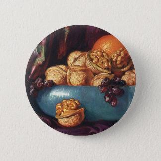 Badge Rond 5 Cm Nourriture vintage, noix et fruit dans une cuvette