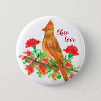 Badge Rond 5 Cm Oiseau d'état cardinal femelle d'amour de l'Ohio