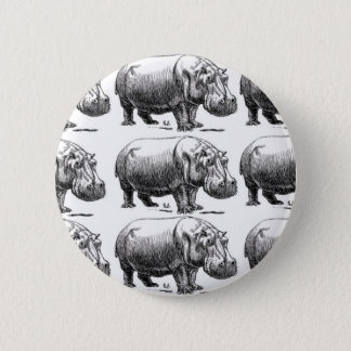 Badge Rond 5 Cm or d'hippopotame