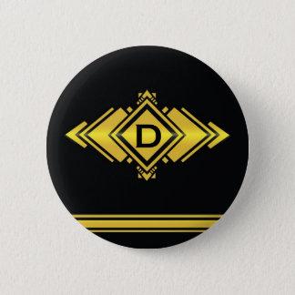 Badge Rond 5 Cm Or et monogramme noir de style d'art déco