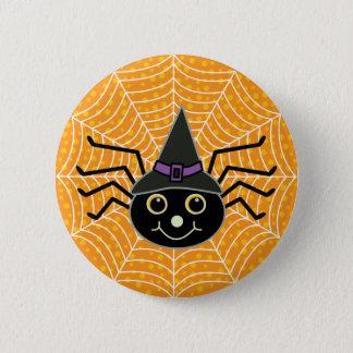 Badge Rond 5 Cm Orange d'araignée de sorcière de Halloween