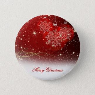 """Badge Rond 5 Cm Ornements de fête de flocons de neige de """"Joyeux"""
