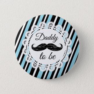 Badge Rond 5 Cm PAPA à être bouton bleu et noir de douche de