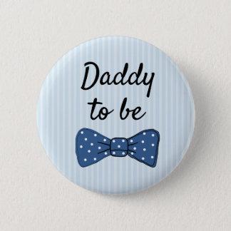 Badge Rond 5 Cm Papa bleu à être bouton de baby shower de cravate