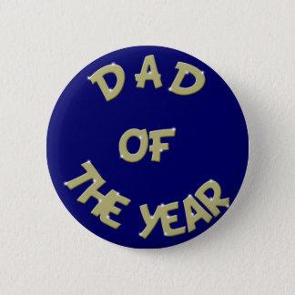 Badge Rond 5 Cm Papa d'or du bouton d'année