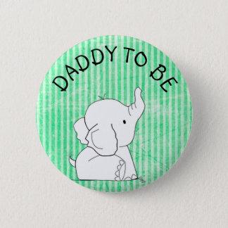 Badge Rond 5 Cm Papa vert et bleu de Pin de baby shower d'éléphant