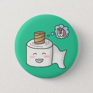 Badge Rond 5 Cm Papier hygiénique drôle mignon rêvant la licorne