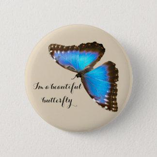 Badge Rond 5 Cm Papillon bleu je suis un papillon