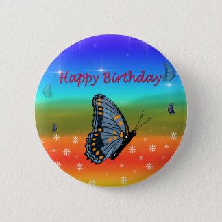 Badge Rond 5 Cm Papillon de joyeux anniversaire