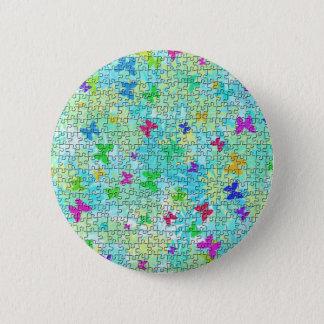 Badge Rond 5 Cm Papillons de puzzle et Marguerite-Coloré par