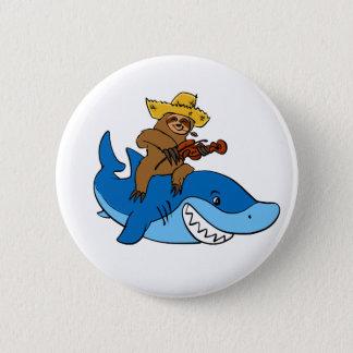 Badge Rond 5 Cm Paresse de plouc montée sur le requin