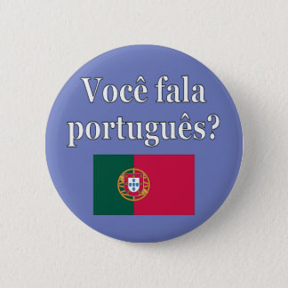 Badge Rond 5 Cm Parlez-vous portugais ? dans le Portugais. Drapeau