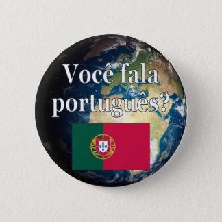 Badge Rond 5 Cm Parlez-vous portugais ? Portugais. Drapeau et