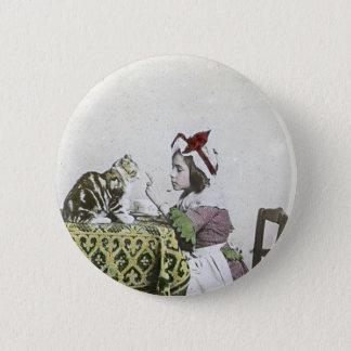 Badge Rond 5 Cm Partie vintage de temps de thé avec Kitty vilain