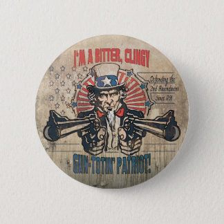 Badge Rond 5 Cm Patriote Toting d'arme à feu amère et collante