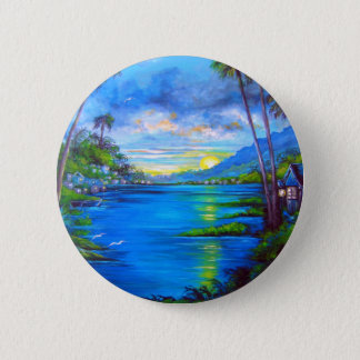 Badge Rond 5 Cm Paumes tropicales bleues