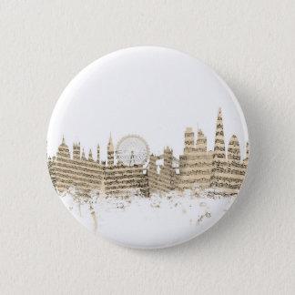 Badge Rond 5 Cm Paysage urbain de musique de feuille d'horizon de