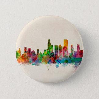 Badge Rond 5 Cm Paysage urbain d'horizon de Chicago l'Illinois