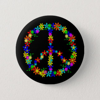 Badge Rond 5 Cm Peace symbole flower power