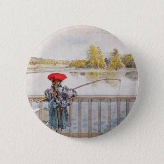 Badge Rond 5 Cm Pêche de Lisbeth par Carl Larsson