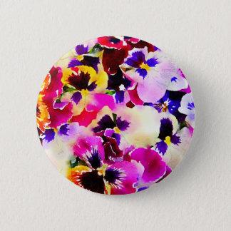 Badge Rond 5 Cm Pensées d'aquarelle