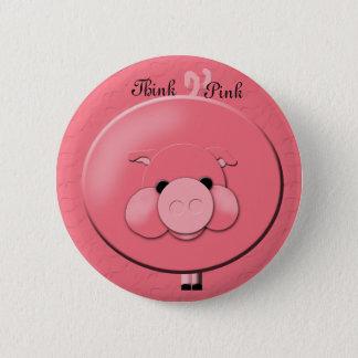 Badge Rond 5 Cm Pensez le bouton rose
